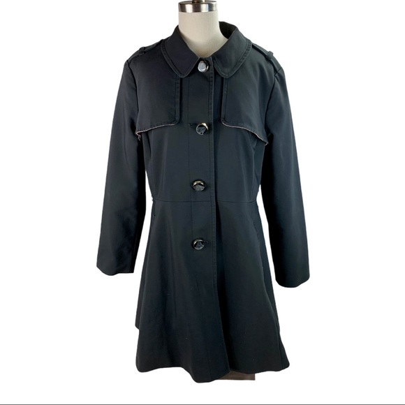 Kate Spade Black Fit and Flare Trench Coat L